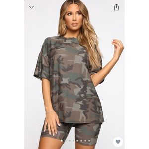 Tamia camo shirt set